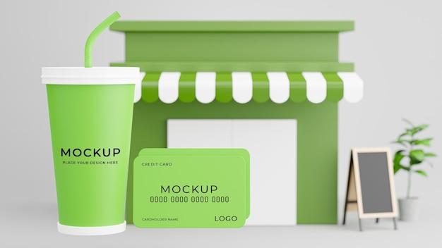 Rendu 3d de la carte de ceredit tasse de café avec maquette de magasin de café