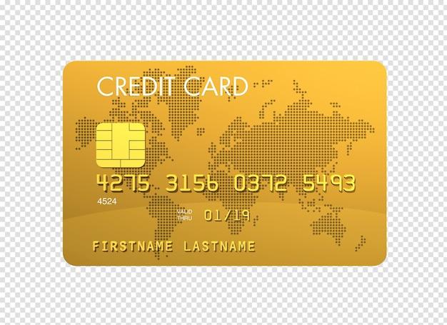 Rendu 3d de carte de crédit or isolé