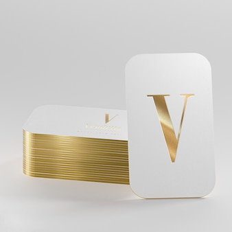 Rendu 3d de carte de visite typographique en or blanc de luxe