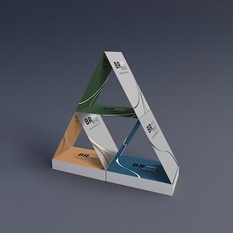 Rendu 3d de cartes de visite construites pour loger le sol. maquette