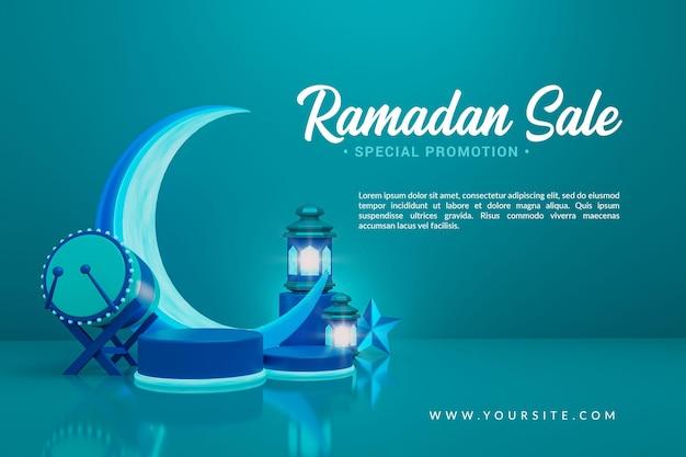 Rendu 3d de cérémonie islamique de vente de ramadan