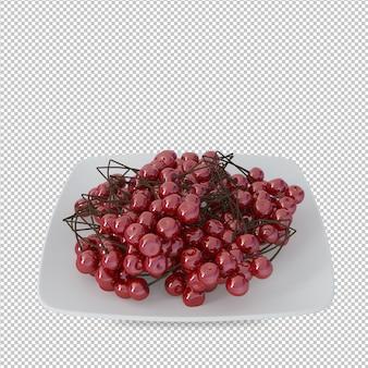 Rendu 3d de cerises en plaque blanche