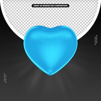 Rendu 3d de coeur bleu pour la composition des médias sociaux