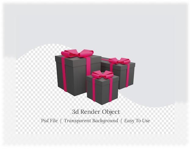 Rendu 3d de coffret cadeau rose avec ruban