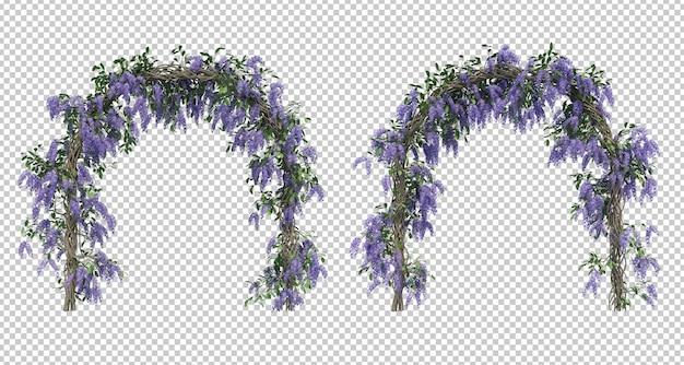 Rendu 3d de la collection d'arbres queen's wreath isolée