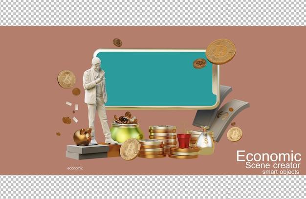 Rendu 3d de la composition financière