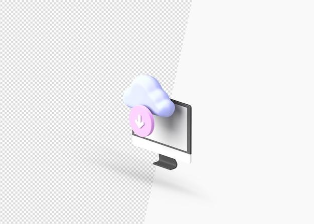 Rendu 3d concept de cloud computing isolé