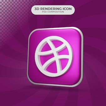 Rendu 3d de la conception d'icône de dribble