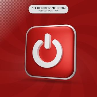 Rendu 3d de la conception de l'icône du bouton d'alimentation