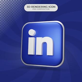 Rendu 3d De La Conception De L'icône Linkedin PSD Premium