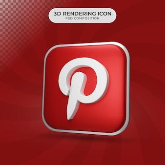 Rendu 3d de la conception d'icône pinterest