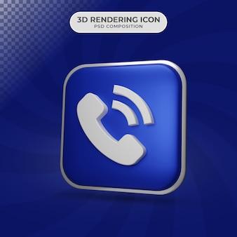 Rendu 3d de la conception d'icône de symbole de téléphone
