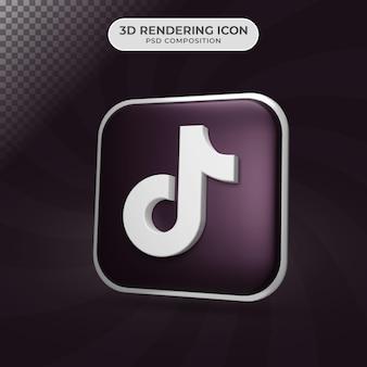 Rendu 3d de la conception d'icône tiktok
