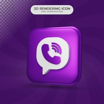 Rendu 3d de la conception d'icône de viber