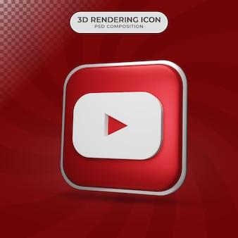 Rendu 3d de la conception d'icône youtube