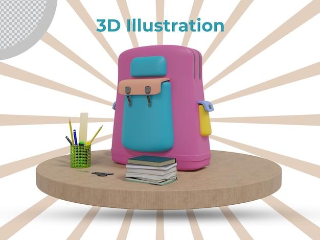 Rendu 3d à la conception d'illustration 3d de l'école