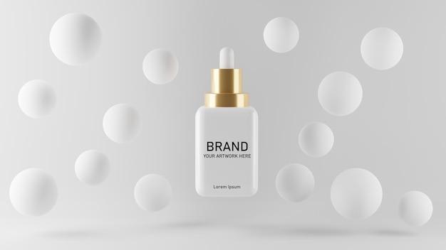 Rendu 3d de la conception de maquette de sérum cosmétique