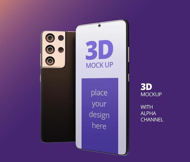 Rendu 3d de conception de maquette de téléphone intelligent