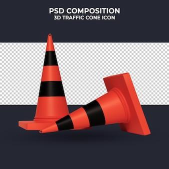Rendu 3d de cône d'avertissement isométrique