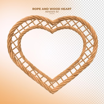 Rendu 3d de corde en bois en forme de coeur