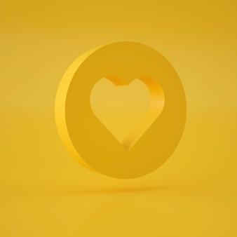 Rendu 3d de coupe en forme de coeur sur cercle flottant