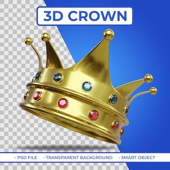Rendu 3d de la couronne king golden color avec gemme