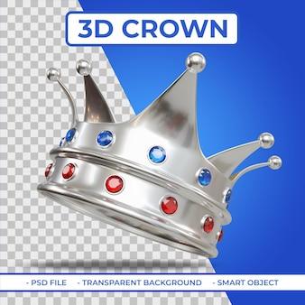 Rendu 3d de la couronne king silver color avec gemme