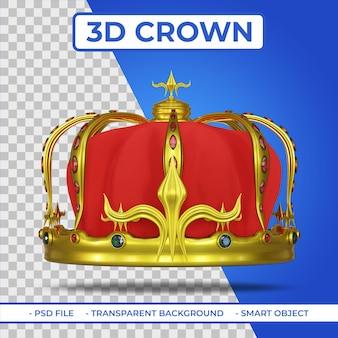 Rendu 3d de la couronne d'or royale héraldique avec gemme