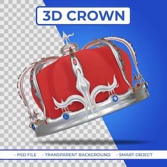 Rendu 3d de la couronne royale héraldique de couleur argent avec gemme