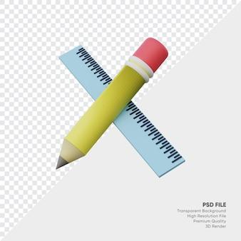 Rendu 3d de crayon et règle