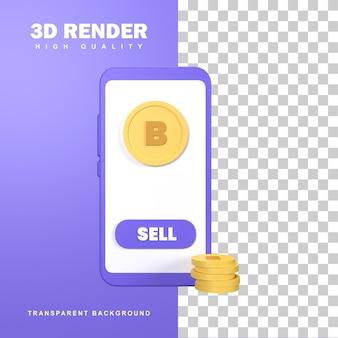 Rendu 3d crypto-monnaie bitcoin d'or sur mobile.