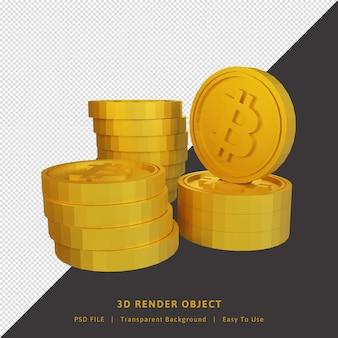 Rendu 3d de crypto-monnaie bitcoin pièce