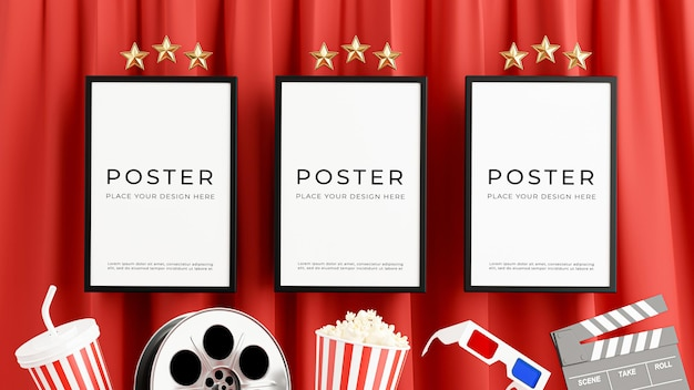 Rendu 3d de la décoration d'affiche de cinéma avec film en bobine
