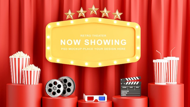 Rendu 3d de la décoration de signe de théâtre jaune avec du pop-corn