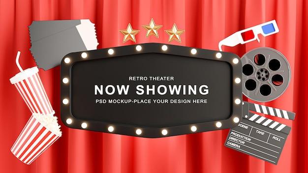 Rendu 3d de la décoration de signe de théâtre noir avec du pop-corn