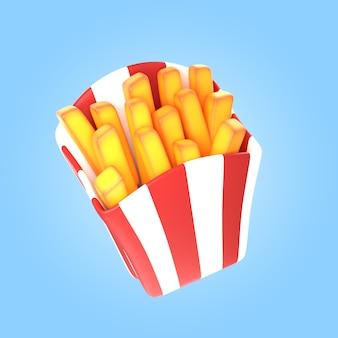 Rendu 3d de délicieuses frites