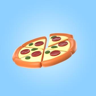 Rendu 3d de délicieuses pizzas