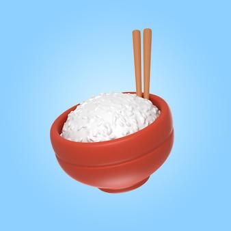 Rendu 3d d'un délicieux bol de riz