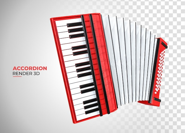 Rendu 3d de dessin animé en bois de style accordéon classique