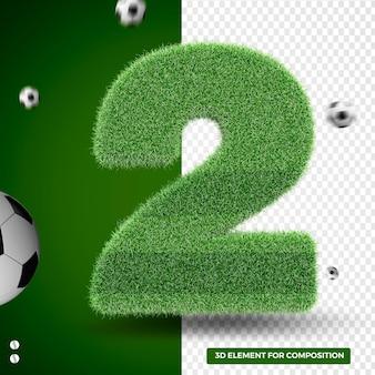 Rendu 3d deux zéro dans l'herbe pour la composition sportive