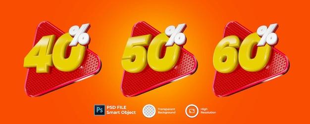 Rendu 3d De Divers Pourcentages PSD Premium