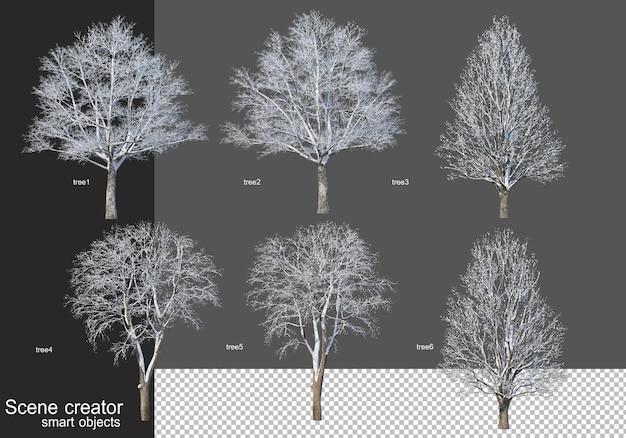 Rendu 3d de divers types d'arbres d'hiver