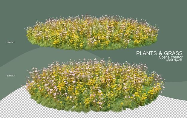 Rendu 3d de divers types d'arrangements de brousse