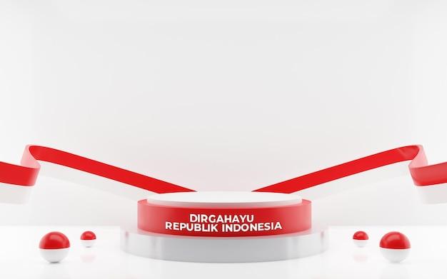 Rendu 3d du 17 août indonésie joyeux jour de l'indépendance carte de voeux