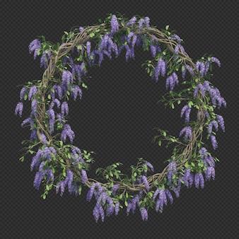 Le rendu 3d du cadre de cercle arbre couronne de la reine isolé