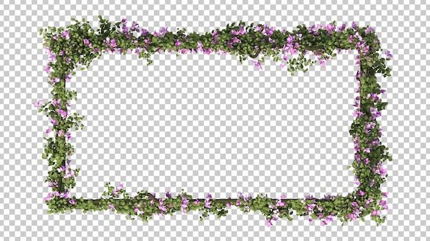 Rendu 3d du cadre rectangle de bougainvilliers