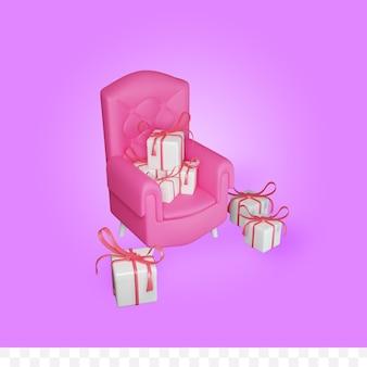Rendu 3d du canapé et de la boîte-cadeau
