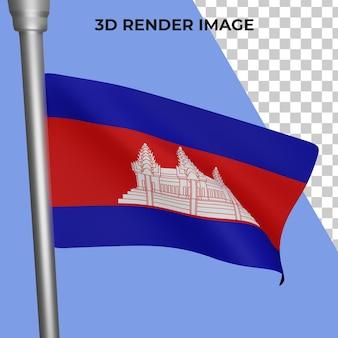Rendu 3d du concept de drapeau du cambodge fête nationale du cambodge