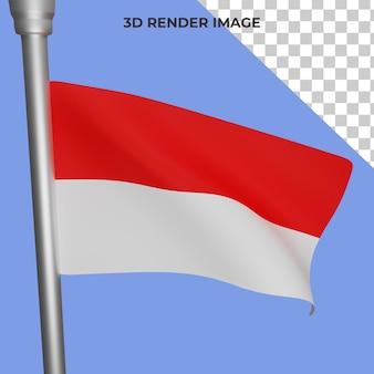 Rendu 3d du concept de drapeau indonésien fête nationale indonésienne psd premium