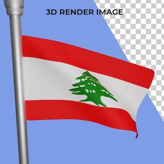 Rendu 3d du concept du drapeau du liban fête nationale du liban